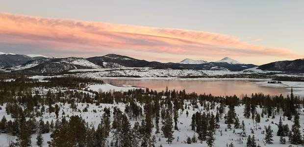 Sunset over Lake Dillon.