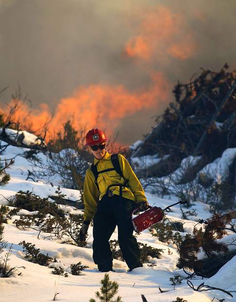 A wildland firefighter for the National Forest Service walks between slash piles to burn along Swan Mountain Road Thursday, Nov. 15, near Frisco.