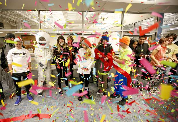 Snowy Peaks High School students participate in the ribbon cutting ceremony Wednesday, Nov. 14, in Frisco.