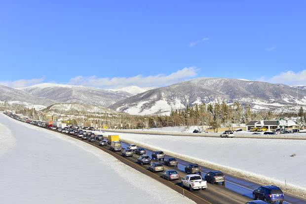 Eastbound traffic on Interstate 70 is slow-going Sunday after a weekend snowstorm caused a 20-car pileup on I-70 outside of Frisco on Saturday that lead the Colorado Department of Transportation to close the route for six hours.
