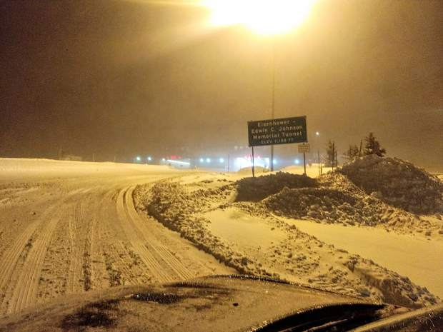 This photo Tweeted out by Colorado State Patrol Master Sgt. Dan Enloe shows conditions at the Eisenhower Tunnel in Summit County. Many cars got stuck trying to climb the mountain to the tunnel and Enloe noted that many of the cars did not have adequate tires for the conditions.