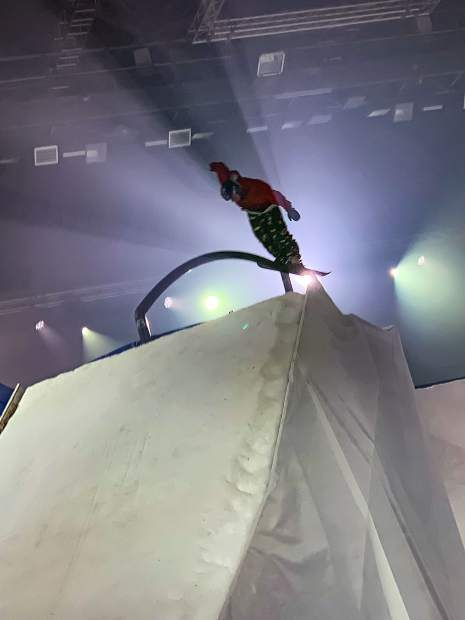 Avon skier Taylor Seaton rides a rail at The White Festival ski and snowboard comptition in Albertville, France, on Saturday, Nov. 17. The first-of-its-kind competition brought rail sliding and other freestyle elements into a stadium atmosphere.