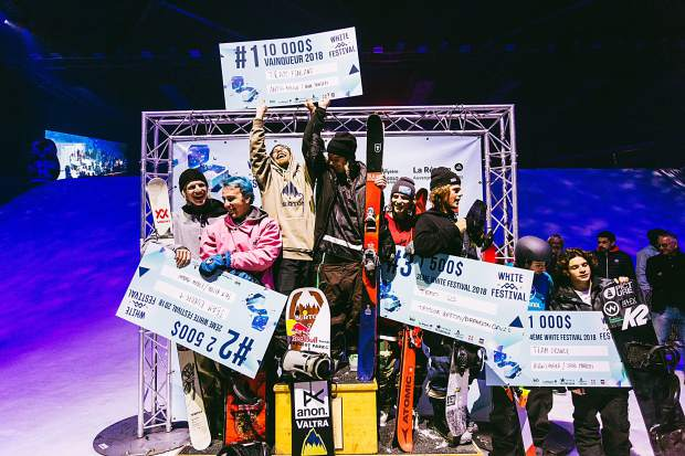 The podium at The White Festival, on Sunday, Nov. 18, at Albertville Olympic Hall in France.