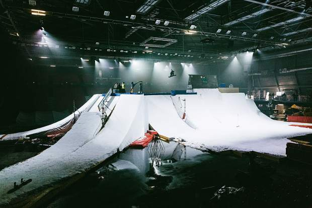 Finnish snowboarder Roope Tonteri airs above the enormous indoor feature that was built inside the Albertville Olympic Hall for The White Festival this past weekend. Tonteri and teammate Antti Ollila won the competition.