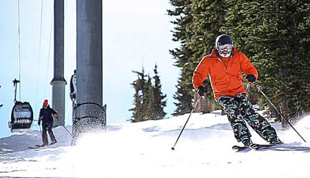 Dan Kiely skiing on Aspen Mountain for opening day on Saturday.