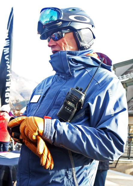 J.T. Welden, the new mountain manager for Aspen Mountain, chats on opening day Saturday, Nov. 17, 2018, near the Silver Queen Gondola.