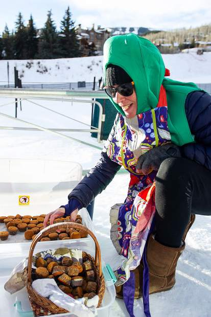 Sue Keating hands out homemade muffins at the base of Snowmass Mountain in memory of the tradition with Angus Graham who died summer of August 2017.