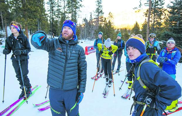 Summit Endurance Academy coach Joe Howdyshell instructs the route for skill-set practice on Tuesday, Dec. 11, in Breckenridge.