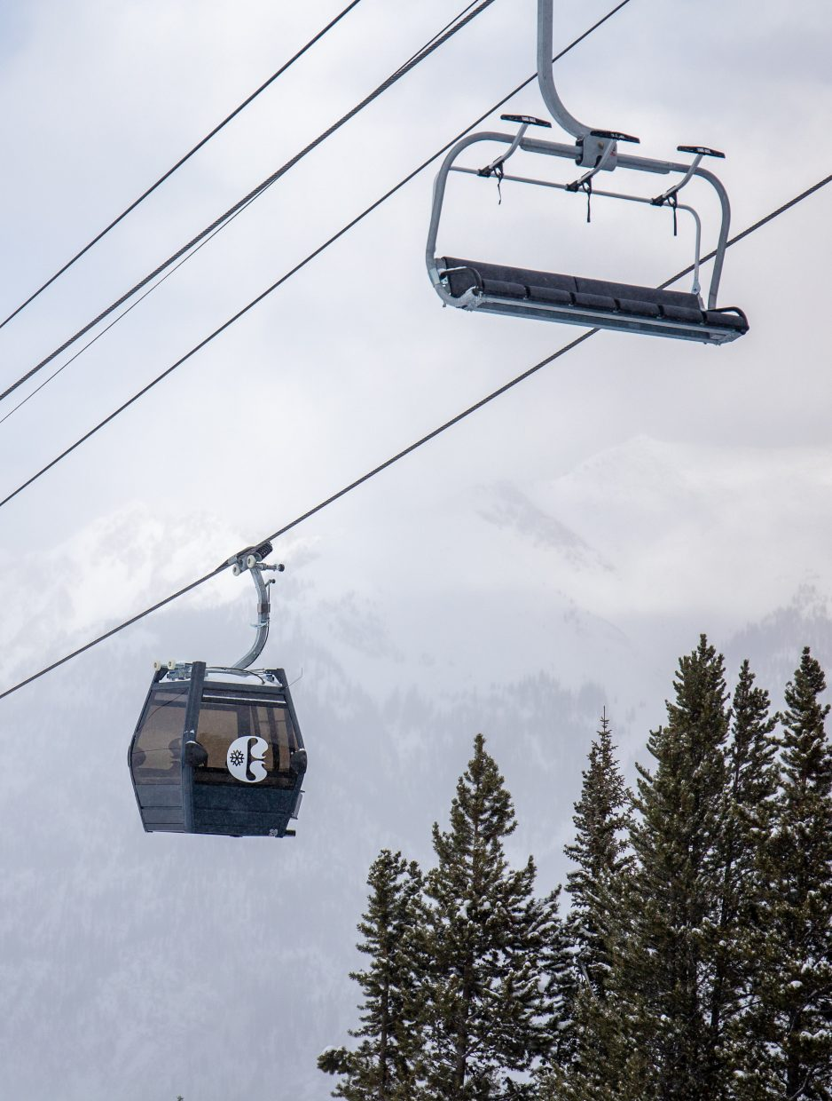 The new gondola cabins and chairs for Copper Mountain Resort's new American Eagle chairlift operate at the resort on Monday.