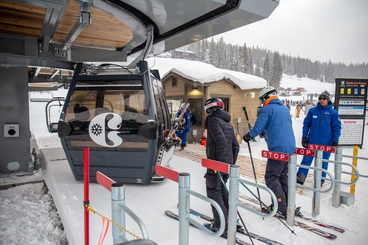 Skiers and riders on Monday board Copper Mountain Resort's new American Eagle chairlift.