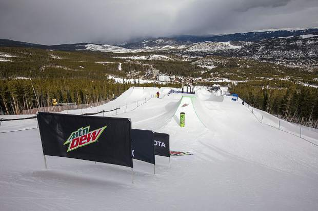 The modified superpipe for this week's Dew Tour event is seen on Wednesday, Dec. 12, at Breckenridge Ski Resort.
