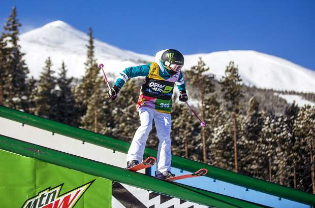 Maggie Voisin, of Montana, slides on a rail in the Dew Tour women's slopestyle ski finals on Thursday, Dec. 13, at Breckenridge Ski Resort. Voisin was the highest representing United States competitor, finishing in third place overall in slopestyle.