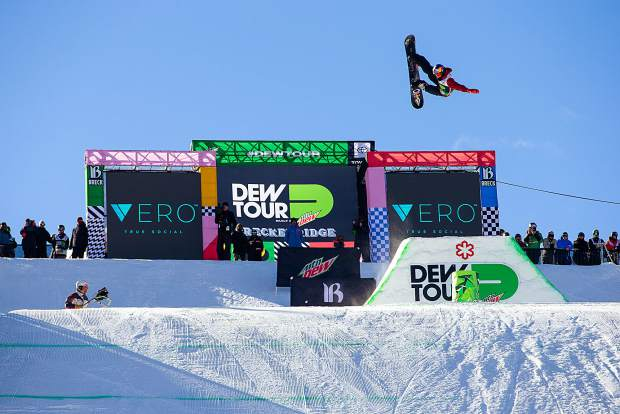 Scotty James of Australia spots his landing in the modified superpipe at Dew Tour in December 2018 at Breckenridge Ski Resort.