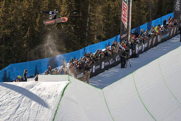 Chase Josey of Idaho executes a trick the men's snowboard modified superpipe competition at Dew Tour on Saturday, Dec. 15, at Breckenridge Ski Resort. Josey took second place.