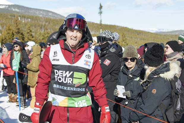 Scotty James of Australia reacts following the men's snowboard modified superpipe competition at Dew Tour on Saturday, Dec. 15, at Breckenridge Ski Resort. James won the contest.