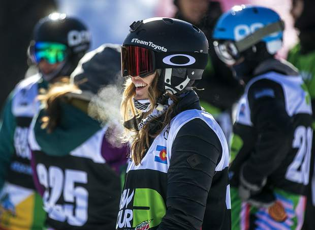Two-time Paralympic medalist Amy Purdy, of Silverthorne, smiles ahead the Dew Tour adaptive snowboard banked slalom women's finals in December 2018 at Breckenridge Ski Resort.