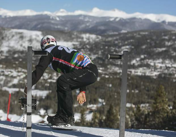 U.S. two-time paralympian Evan Strong takes off for his final run during the Dew Tour adaptive snowboard cross men's finals Thursday, Dec. 13, at Breckenridge Ski Resort. Strong placed first. Strong, who lost his left leg in a motorcycle accident caused by a drunk driver, placed first in the event.