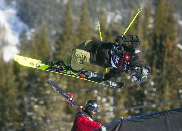 Sam Ward of Great Britain practices at the Copper Mountain Resort halfpipe on Tuesday as part of training for the Toyota U.S. Grand Prix World Cup event. Freeski qualification rounds will take place on Wednesday, with the finals scheduled for Friday.
