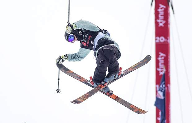 Freeskier Birk Irving, of Winter Park, executes a trick in mid-air at the Toyota U.S. Grand Prix halfpipe competition on Wednesday, Dec. 5, at Copper Mountain Resort.