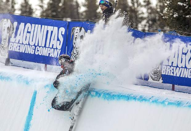 Simon D'Artois, of Canada crashes on the halfpipe during the qualifiers at the Toyota U.S. Grand Prix competition on Wednesday, Dec. 5, at Copper Mountain Resort. D'Artois qualified for the finals.