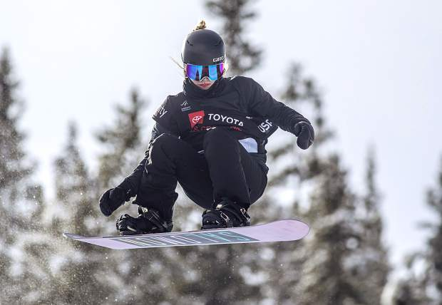 Maddie Mastro, of California, executes a trick at the Toyota U.S. Grand Prix halfpipe qualifiers on Thursday, Dec. 6, at Copper Mountain Resort. Mastro scored a high of 89.oo and qualified for finals on Saturday in second position.