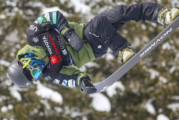 Ikko Anai, of Japan, executes a trick at the Toyota U.S. Grand Prix halfpipe qualifiers on Thursday, Dec. 6, at Copper Mountain Resort.