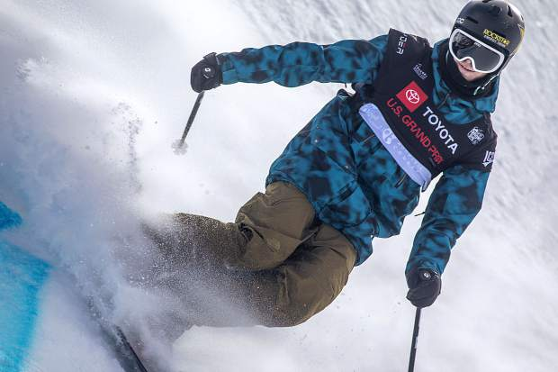 Aaron Blunck, of Crested Butte, slides to a stop in the halfpipe finals of the Toyota U.S. Grand Prix World Cup event on Friday, Dec. 7, at Copper Mountain Resort. Blunck placed first with a high score of 96.25.
