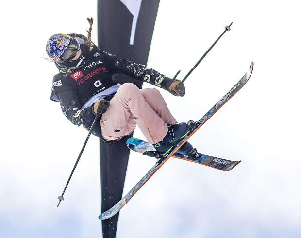 Kelly Sildaru, of Estonia, executes a trick in the halfpipe finals of the Toyota U.S. Grand Prix World Cup event on Friday, Dec. 7, at Copper Mountain Resort. Sildaru took first place with a high score of 93.