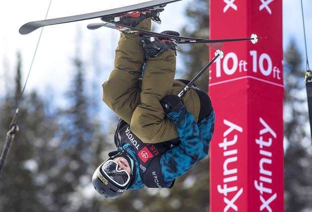 Aaron Blunck, of Crested Butte, executes a trick in the halfpipe finals of the Toyota U.S. Grand Prix World Cup event on Friday, Dec. 7, at Copper Mountain Resort. Blunck placed first with a high score of 96.25.