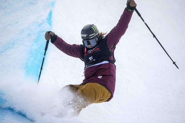 Devin Logan in the halfpipe finals of Toyota U.S. Grand Prix World Cup event Friday, Dec. 7, at Copper Mountain.