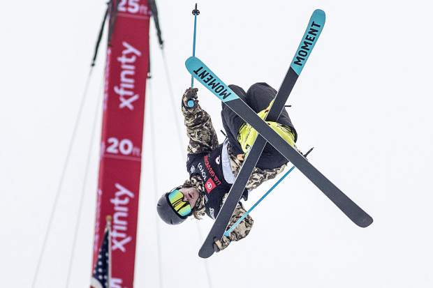 American freeskier and 2-time gold medalist in the winter olympics, David Wise, performs in midair during the qualifiers in the Toyota U.S. Grand Prix halfpipe competition Wednesday, Dec. 5, at Copper Mountain, CO.