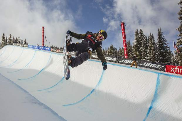 Breckenridge resident Arielle Gold executes a trick in the Toyota U.S. Grand Prix qualifiers Thursday, Dec. 6, at Copper Mountain.