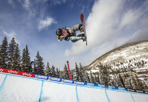 Halfpipe gold medalist, Chloe Kim, executes a trick in the Toyota U.S. Grand Prix qualifiers Thursday, Dec. 6, at Copper Mountain. Kim scored a high of 95.25 and qualified for finals on Saturday.