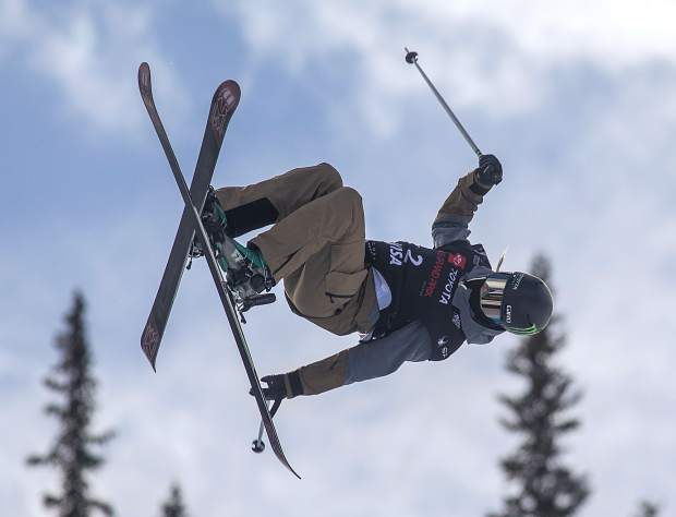 U.S. Olympian medalist Brita Sigourney, of California, executes a trick in the halfpipe finals of Toyota U.S. Grand Prix World Cup event Friday, Dec. 7, at Copper Mountain.