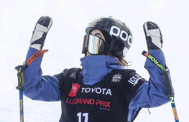 Rachael Karker, of Canada, displays her misplaced googles following her last run in the Toyota U.S. Grand Prix halfpipe freeskier women's finals Friday, Dec. 7, in Copper Mountain. Karker placed 4th.