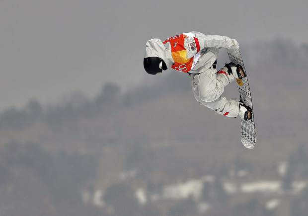 Michigan native and Silverthorne resident Kyle Mack executes his Bloody Dracula hold during the men's slopestyle qualifying round at Phoenix Snow Park at the 2018 Winter Olympics in Pyeongchang, South Korea.