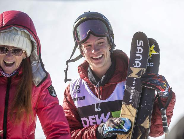 Alex Ferreira, of Aspen, smiles following his last run in Dew Tour's ski modified superpipe competition on Sunday, Dec. 16, at Breckenridge Ski Resort. Ferraira won the competition for the second year in a row.