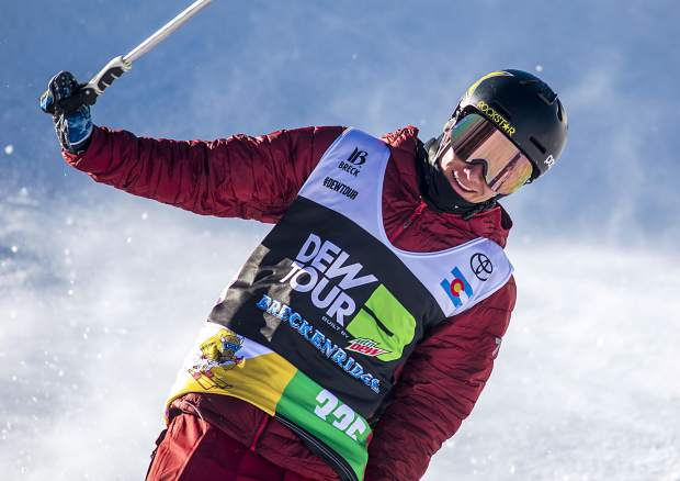 Alex Ferreira, of Aspen, reacts following his last run in Dew Tour's ski modified superpipe competition on Sunday, Dec. 16, at Breckenridge Ski Resort. Ferraira won the competition for the second year in a row.