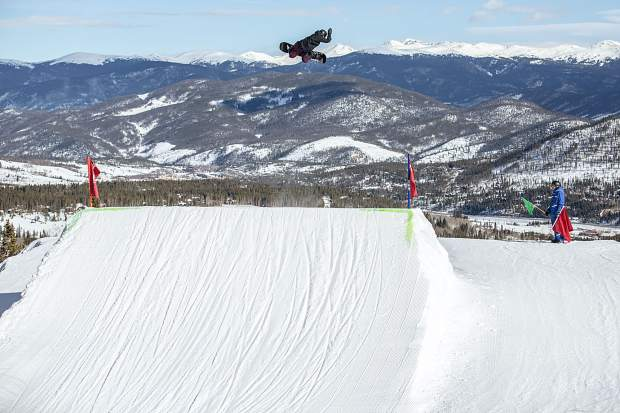 Olympic gold-medal winning snowboarder Red Gerard of Silverthorne executes a trick on the Dew Tour slopestyle course at Breckenridge Ski Resort on Tuesday.