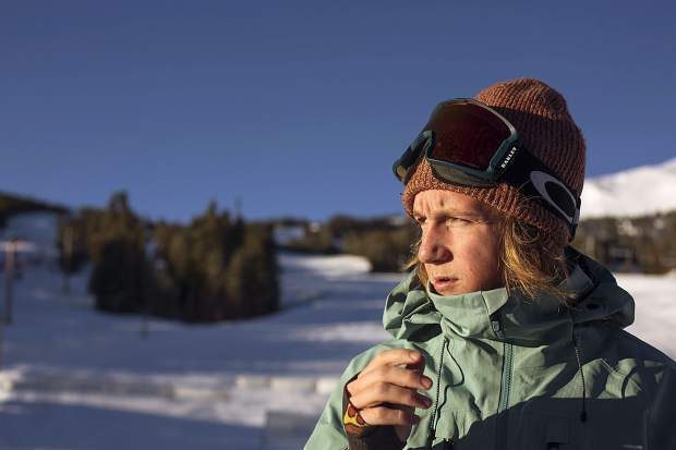 U.S. Olympic gold medalist and Silverthorne resident Red Gerard takes in the golden hour sunlight from the Peak 8 base area while getting ready to ride Breckenridge Ski Resort during last December's Dew Tour.