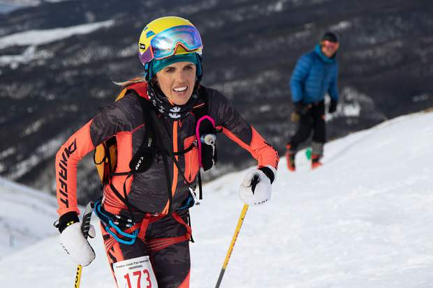 Sierra Anderson of Breckenridge ascends on skins during last weekend's individual ski mountaineering race at Arapahoe Basin Ski Area during the USSMA A-Basin Pan American Cup U.S. National Team qualifier races. Anderson finished in third place.