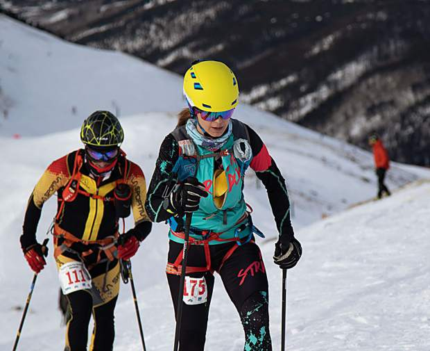 Summit County local Nikki LaRochelle (right) skins up Arapahoe Basin Ski Area during last weekend's individual ski mountaineering race at Arapahoe Basin Ski Area during the USSMA A-Basin Pan American Cup U.S. National Team qualifier races. LaRochelle finished in second place to unofficially qualify for March's International Ski Mountaineering Federation World Championships in Switzerland.