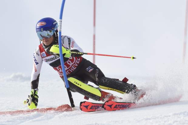 United States' Mikaela Shiffrin speeds down the course during a ski World Cup women's Slalom race, in Courchevel, France, Saturday, Dec. 22, 2018. (AP Photo/Marco Tacca)