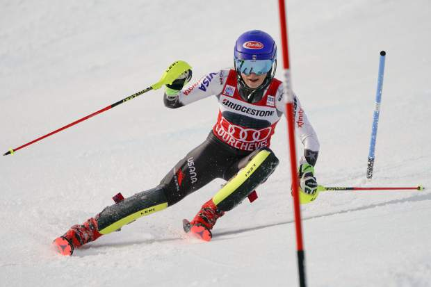 United States' Mikaela Shiffrin speeds down the course during a ski World Cup women's Slalom race, in Courchevel, France, Saturday, Dec. 22, 2018. (AP Photo/Giovanni Auletta)