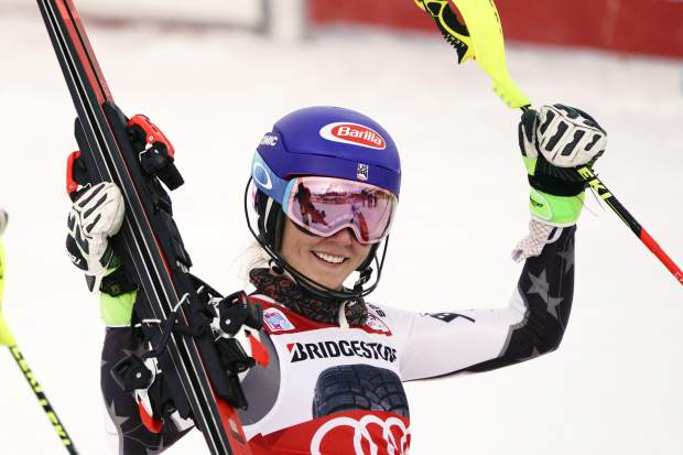 Mikaela Shiffrin celebrates at the finish area of a ski World Cup women's Slalom race, in Courchevel, France on Saturday.