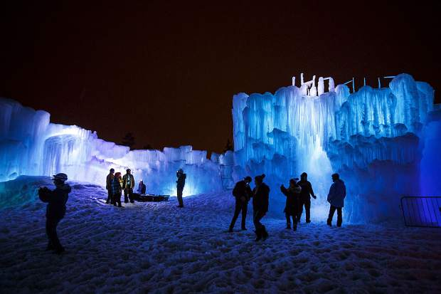 People explore the Ice Castles on the opening night Dec. 21, 2018, in Dillon.