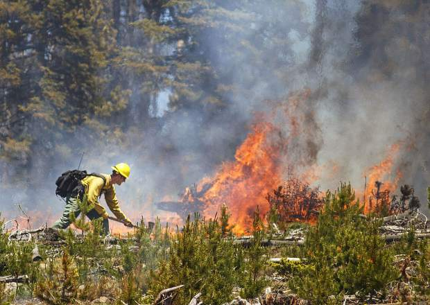 A wildland firefighter works to contain the flames at the Buffalo Fire site Wednesday, June 13, near Silverthorne, CO.