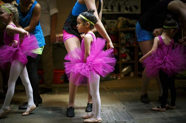 Born In The New Millennium three-year-old performers prepare to rehearse for the dance recital Saturday, May 12, 2018 inside the Alpine Dance Academy in Frisco, CO.