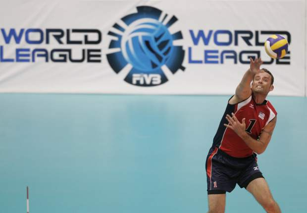U.S. Lloy Ball serves during a World League volleyball match against Serbia in Rio de Janeiro in 2008. Four-time Olympian Ball will lead an American delegation to a European snow volleyball tournament in Moscow this week. The ultimate goal: helping snow volleyball earn a spot in the Olympics - perhaps by 2026.