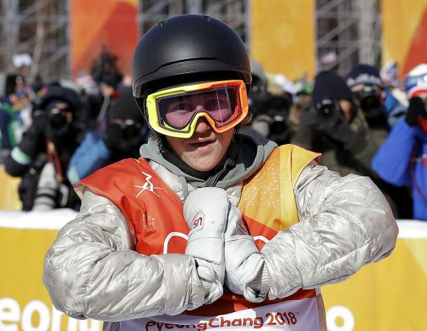 Red Gerard of Summit County reacts after his gold-medal run during the men's slopestyle final at Phoenix Snow Park at the 2018 Winter Olympics in Pyeongchang, South Korea on Feb. 11.